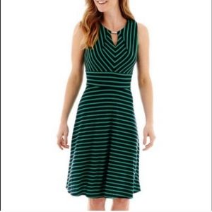 Liz Claiborne blue and green striped dress